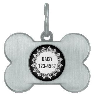 白黒の(紋章の)フラ・ダ・リの名前入りなドッグタッグ ペットネームタグ