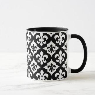白黒の(紋章の)フラ・ダ・リパターン マグカップ