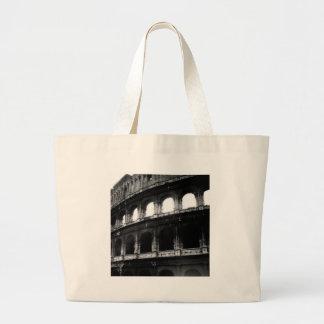 白黒のColosseumのローマ帝国 ラージトートバッグ
