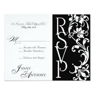 白黒のDIYのエレガントなシンプルRSVP カード