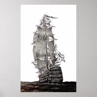 白黒のGalleonのペンとインクのスケッチ ポスター