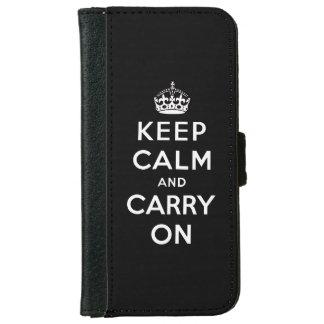 白黒のKeep Calm and Carry On iPhone 6/6s ウォレットケース