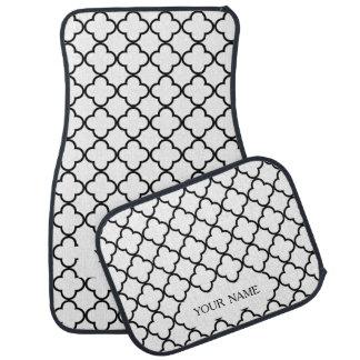 白黒のQuatrefoilパターン、あなたのモノグラム カーマット
