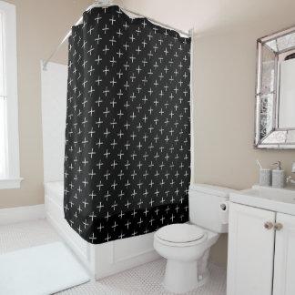 白黒はっきりしたなXモダンで幾何学的なパターン シャワーカーテン