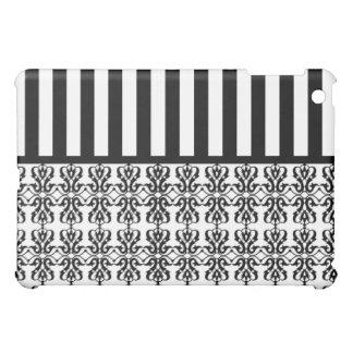 白黒はダマスク織を縞で飾ります iPad MINI カバー