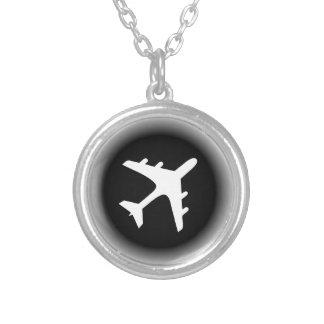 白黒はデザイン飛行機の衰退します シルバープレートネックレス