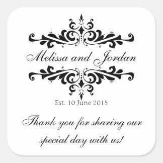 白黒は結婚式の引き出物のためにステッカー感謝していしています スクエアシール