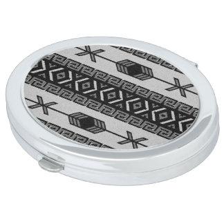 白黒アステカなパターンコンパクトの鏡