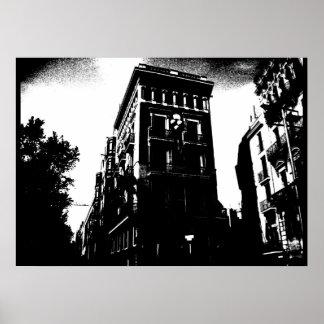 白黒アールデコの建物 ポスター
