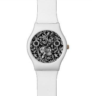 白黒アールヌーボーのカーネーションのダマスク織 腕時計