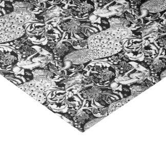 白黒アールヌーボーの孔雀のプリント 薄葉紙
