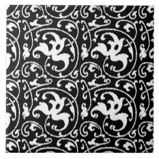 白黒イカットの花のダマスク織- タイル