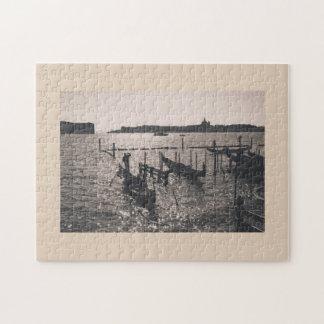 白黒イメージのベニスの景色 ジグソーパズル