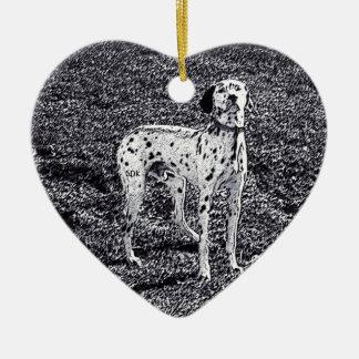 白黒インクの火の家のDalmatian犬 セラミックオーナメント
