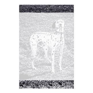 白黒インクの火の家のDalmatian犬 便箋