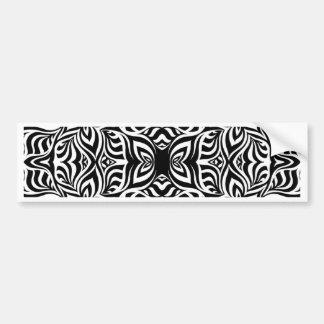 白黒インクフラクタルの花 バンパーステッカー