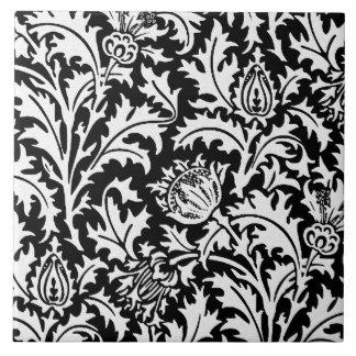 白黒ウィリアム・モリスのアザミのダマスク織 タイル