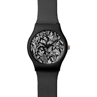 白黒ウィリアム・モリスのアザミのダマスク織 腕時計