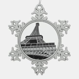 白黒エッフェル塔 スノーフレークピューターオーナメント