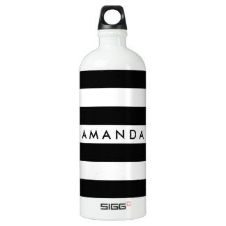 白黒エレガントでストライプのなカスタマイズ可能 ウォーターボトル