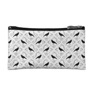 白黒エレガントなカラスパターン コスメティックバッグ