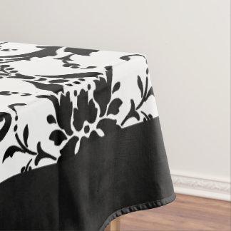 白黒エレガントなダマスク織パターン テーブルクロス