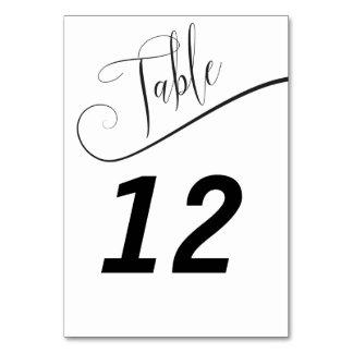 白黒エレガントなテーブル数 カード