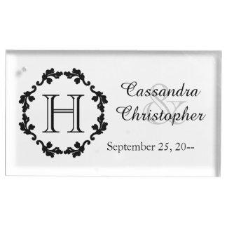 白黒エレガントなモノグラムの結婚 テーブルカードホルダー