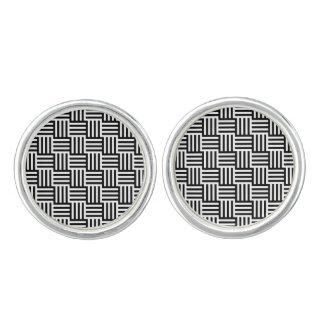 白黒エレガントな正方形パターン カフスボタン