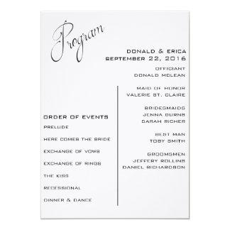 白黒エレガントな結婚式プログラム カード