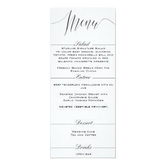 白黒エレガントな結婚式メニュー カード