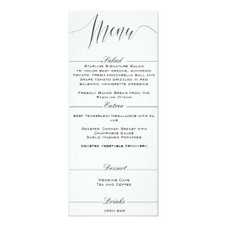 白黒エレガントな結婚式メニュー 10.2 X 23.5 インビテーションカード