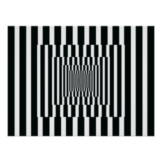 白黒オップアートの縦の反射 ポスター