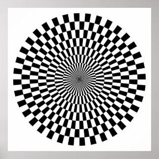 白黒オップアートの車輪- ポスター