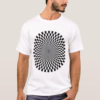 白黒オップアートの車輪- Tシャツ