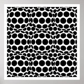 白黒オップアート点および球- ポスター
