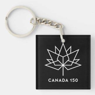 白黒カナダ150の役人のロゴ- キーホルダー