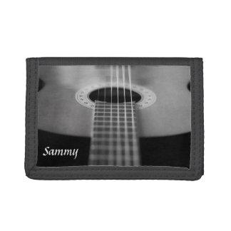 白黒ギターの財布 ナイロン三つ折りウォレット
