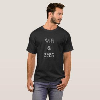 白黒ギフト男性へのWifi及びビール Tシャツ