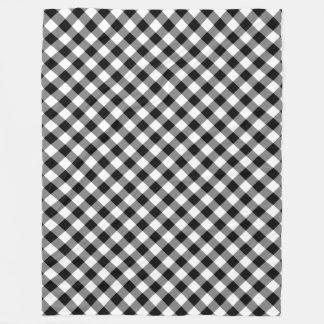 白黒ギンガムの格子縞のフリースブランケット フリースブランケット