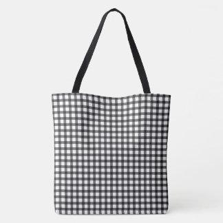 白黒ギンガムの点検パターン トートバッグ