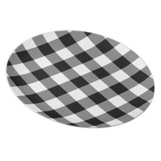 白黒ギンガムパターン プレート