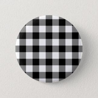 白黒ギンガムパターン 5.7CM 丸型バッジ