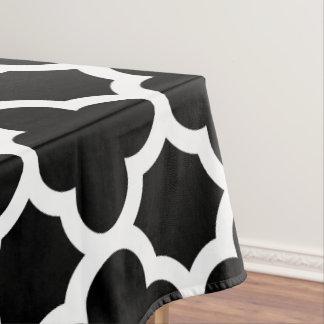 白黒クラシックなクローバーのテーブルクロス テーブルクロス