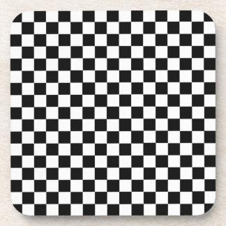 白黒クラシックなチェッカーボード コースター