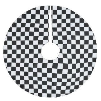 白黒クラシックなチェッカーボード ブラッシュドポリエステルツリースカート