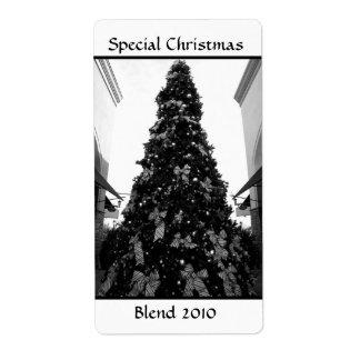 白黒クリスマスツリーの写真 ラベル