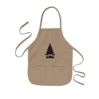 白黒クリスマスツリー 子供用エプロン