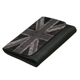 白黒グランジな英国国旗のイギリスの旗- ウォレット