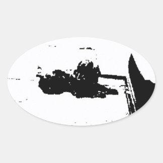 白黒コッカースパニエル 楕円形シール